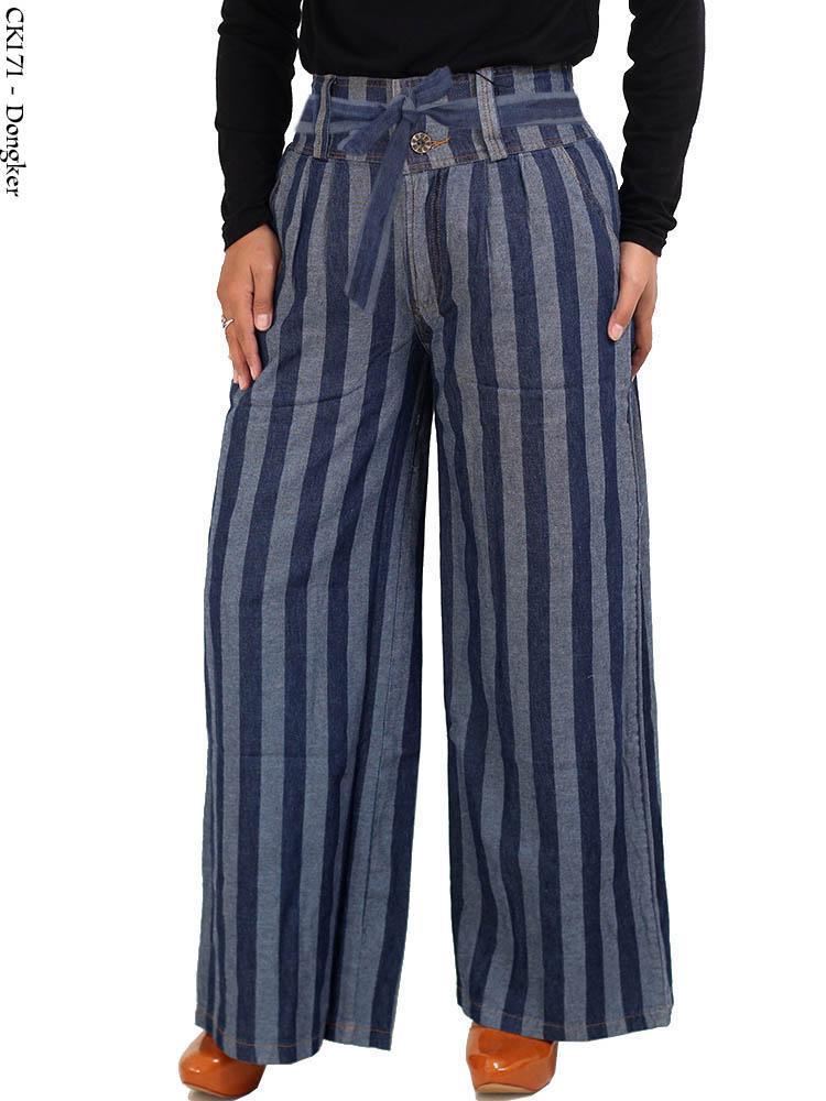 Ck171 Celana Kulot Panjang Jeans Salur Busana Muslim