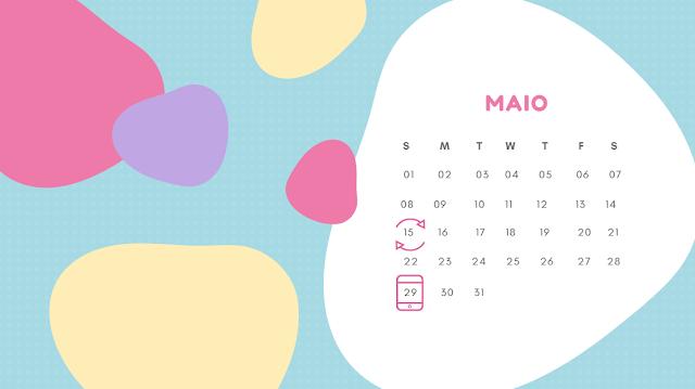 Calendário (tabelinha) onde se marca o dia prevista para ovulação fazendo o cálculo do périodo fértil