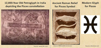 12000-year-old Ratnagiri Petroglyph depicting the astrological symbol of Pisces.