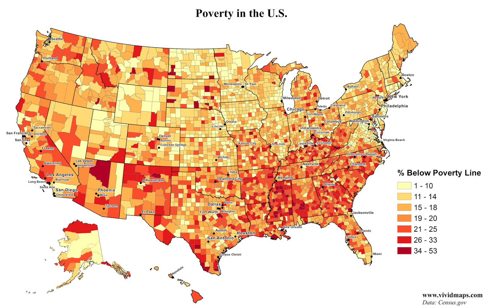 Poverty In The United States Vivid Maps - Us poverty state map