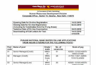 PNB Technical Officer recruitment Notification 2019 PDF