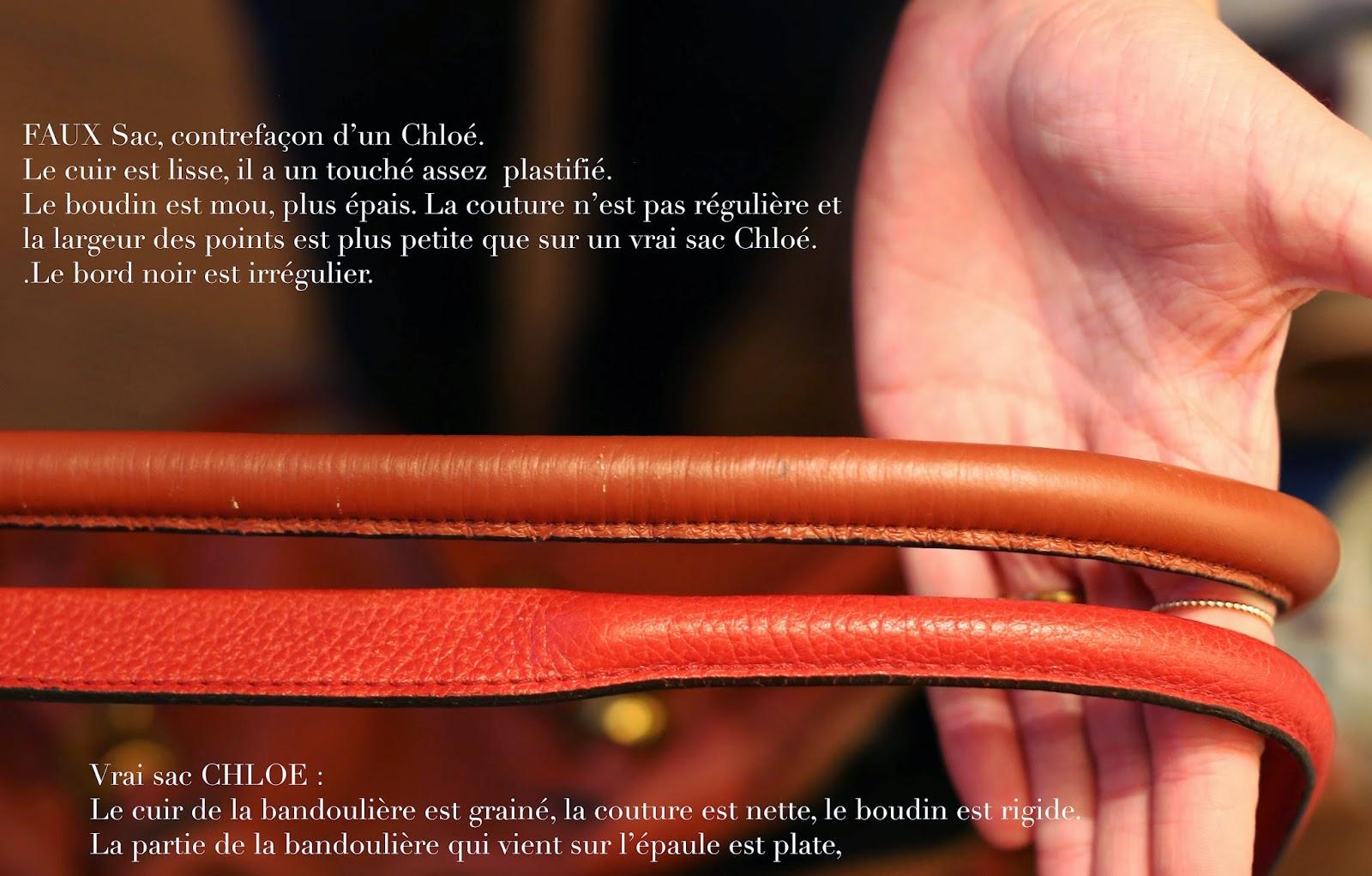 723af73c64 Ci dessous : en haut la bandoulière marron du faux sac, en bas la rouge est  celle du vrai sac Chloe Paraty :