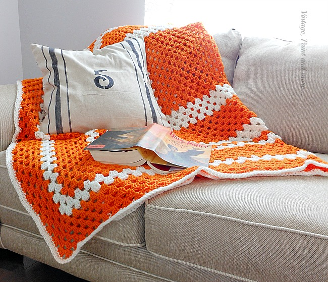 Vintage, Paint and more... granny afghan crocheted for a teen boy