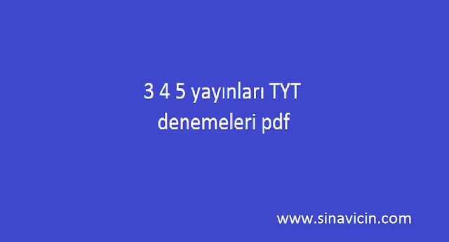 3 4 5 yayınları tyt denemeleri pdf