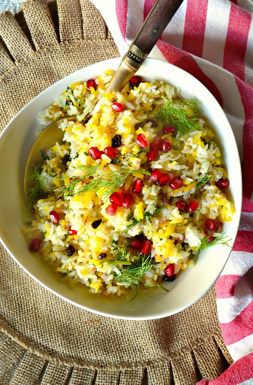 Saffron Herb Rice with  yellow and white grains is easy to make and tastes great! Plus it is so pretty! #rice #China www.thisishowicook.com