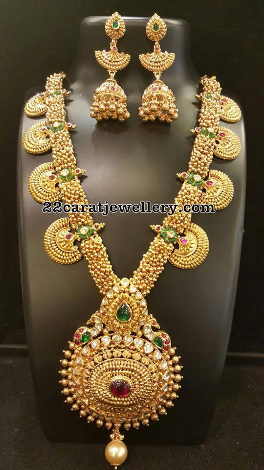 Gold Swirls Long Chain Long Jhumkas