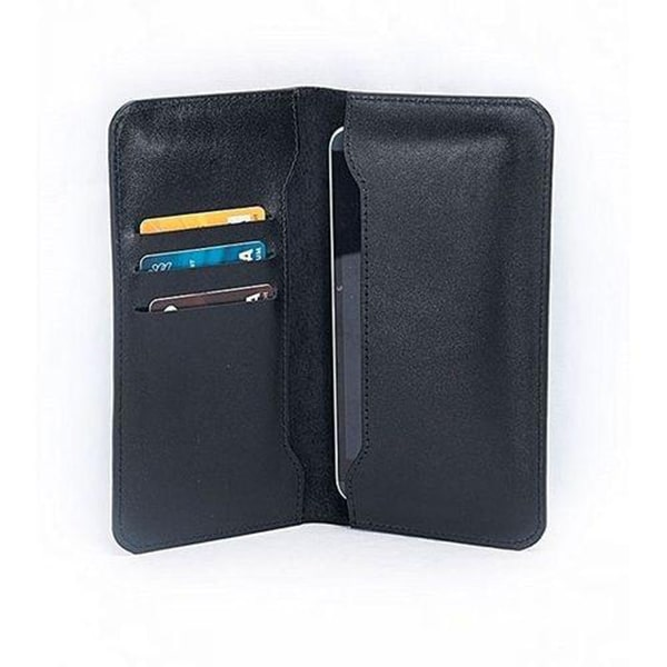 Black Leather Mobile Wallet for Men