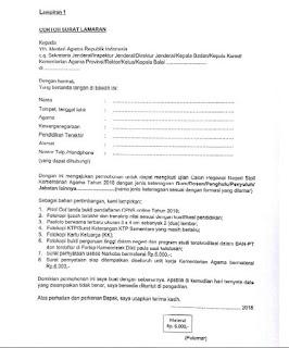 Salah satu syarat untuk sanggup mendaftarkan diri pada CPNS Kemenag ialah para pelamar harus Contoh Surat Lamaran CPNS Kemenag Terbaru
