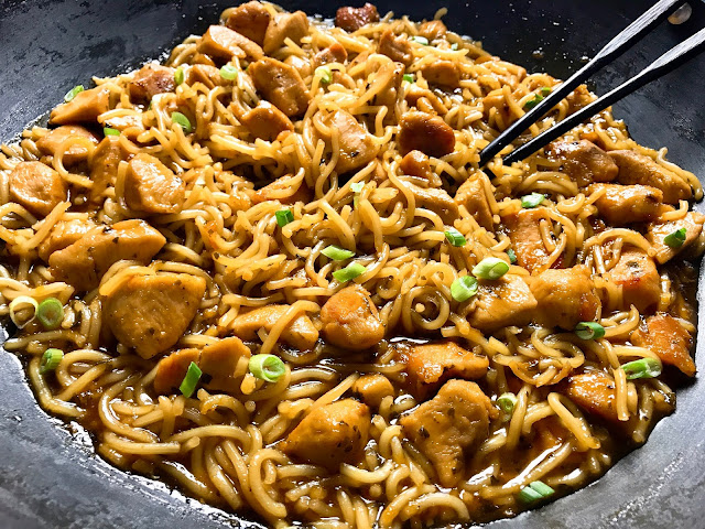 sweet and sour chicken with stirfry noodles