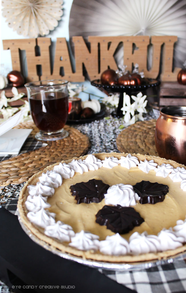ice cream pie, chocolate leaves, thanksgiving pie, thanksgiving table
