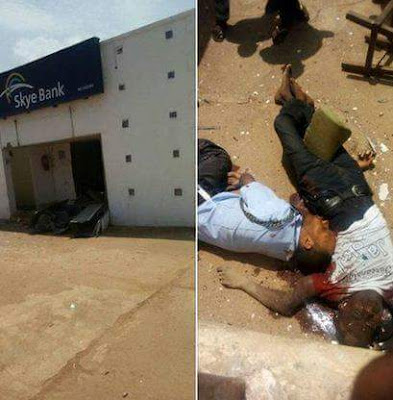 Photos: Dare devil armed robbers storm bank in Ondo, kill two police officers, passerby, cart away undisclosed amount of money