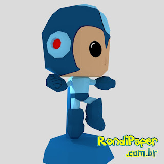 Megaman Jumping Papercraft PaperToy Low poly | RondiPaper
