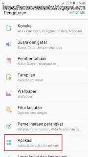 menu aplikasi di setelan