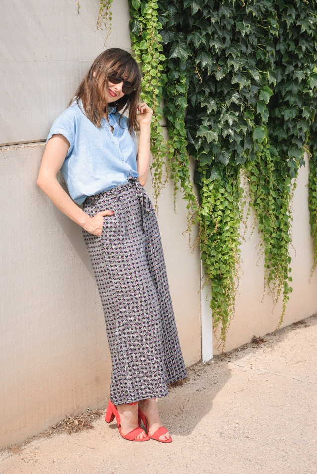 Denim Shirt + Culotte Pants