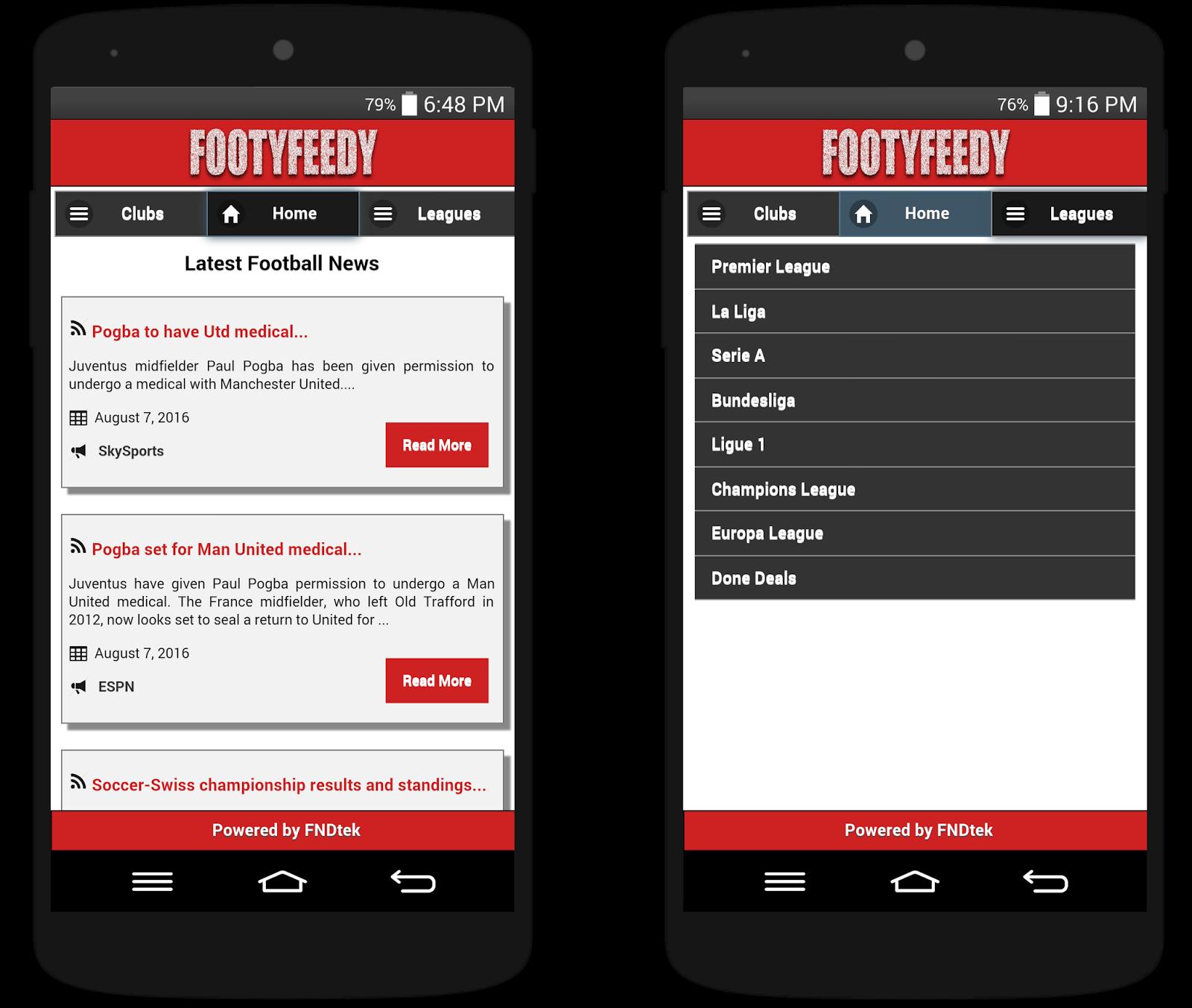 FootyFeedy app screenshots.
