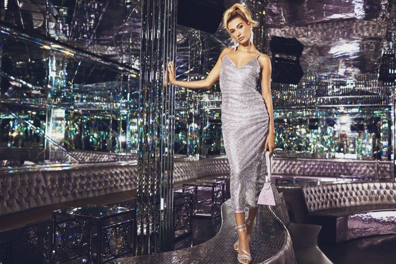 Hailey Baldwin Sparkles in Pretty Little Thing's Silver Dresses