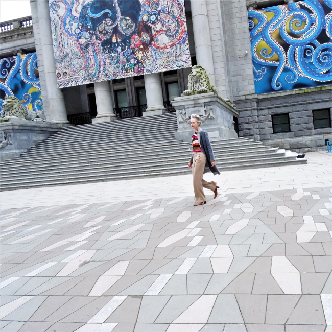 Melanie Kobayashi at Vancouver Art Gallery Plaza, Missoni trousers