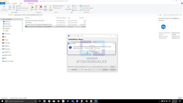 Seleccionar letra de unidad para Instalar remix OS en USB con el asistente.