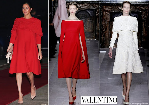 Meghan Markle Valentino embroidered shoulder wrap dress from Valentino Spring 2013 Couture Collection
