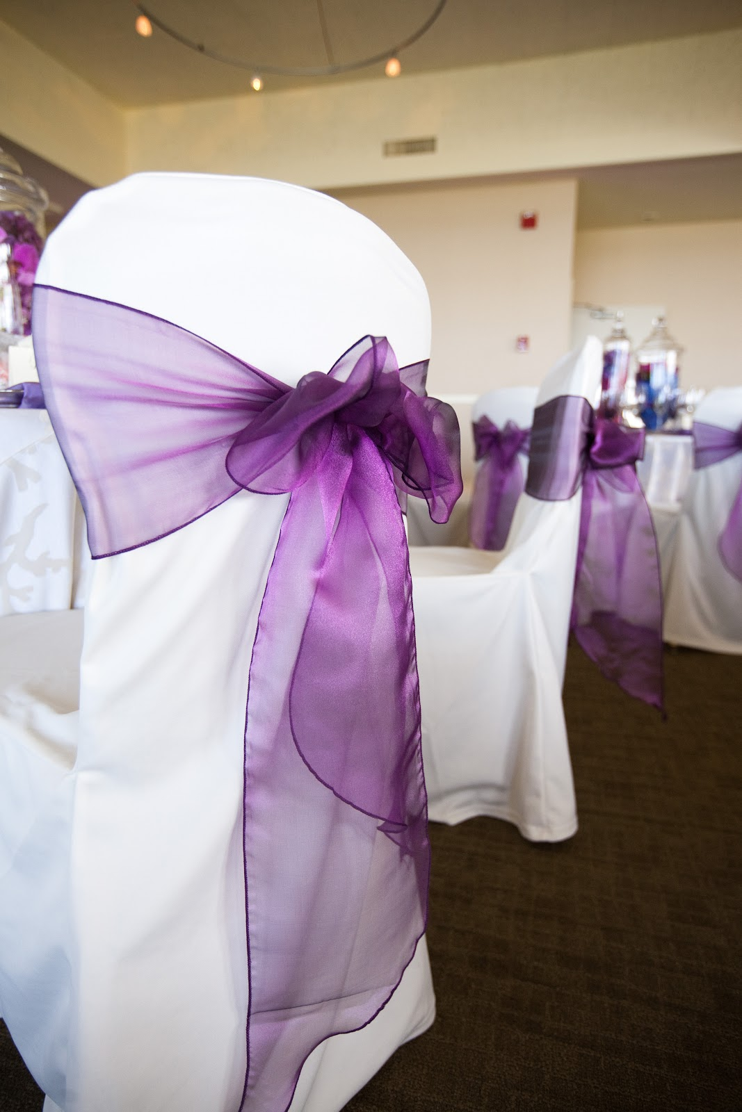 purple chair sashes for weddings compact bed san francisco bay area covers and chivari chairs