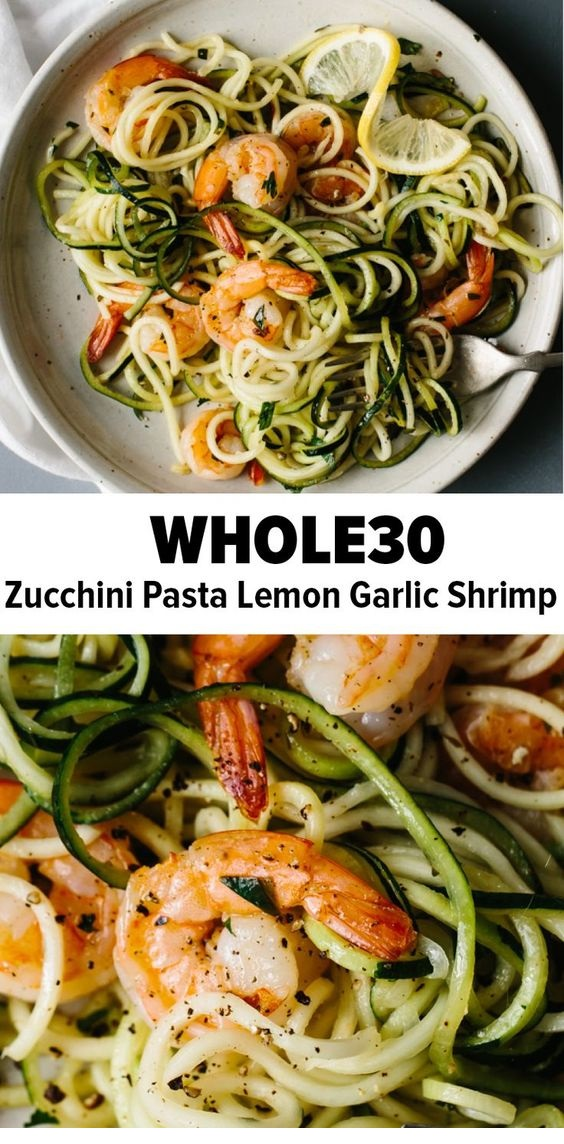 Zucchini Pasta With Lemon Garlic Shrimp