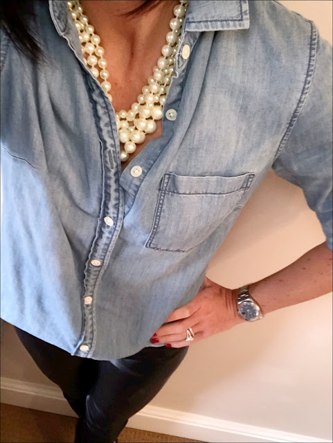 My Midlife Fashion, J Crew Chambray shirt, french connection faux leather trousers, J Crew pearl hammock twisted necklace, boden studded pointed flats