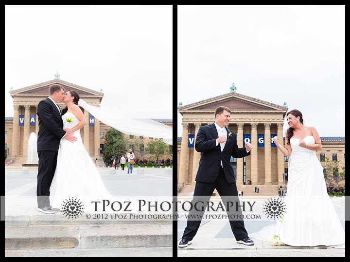 Bride and Groom wedding photo Philadelphia Art Museum