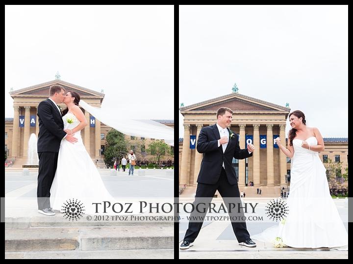 Bride and Groom wedding photo Philadelphia Art Museum