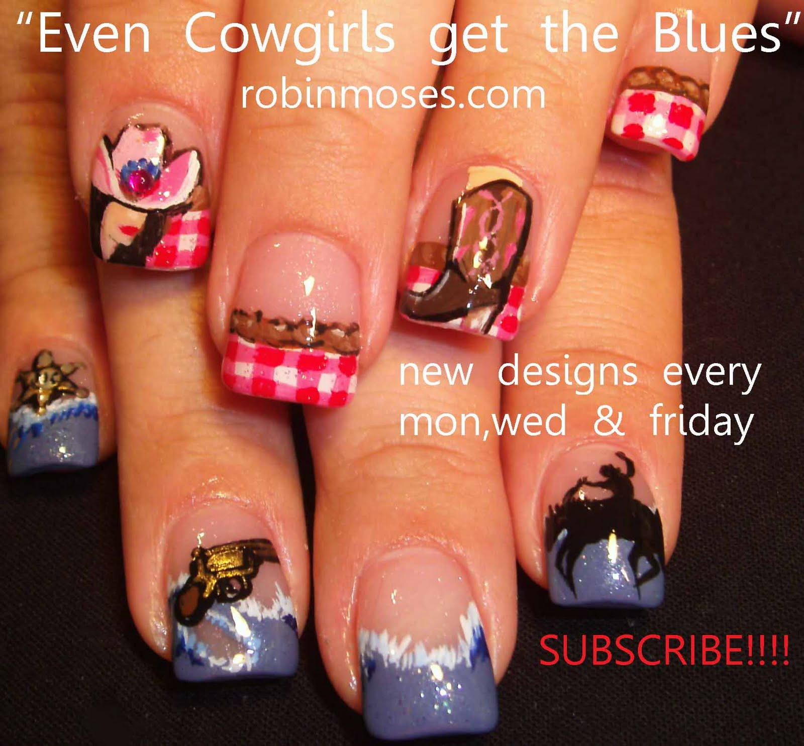 Country Girl Nail Art: Nail Art By Robin Moses: Cowgirl Nails, Red And Blue Nail