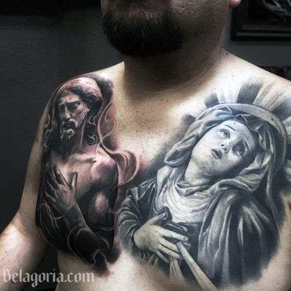 Tatuaje De La Virgen En El Pecho