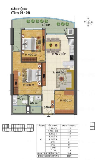 Căn hộ số 03 tòa Trường Thành A- Tràng An Complex