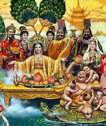 บุ้งไฉ่ซิ้ง(文財神), เอี่ยวตี่กิมบ้อ(瑤池金母), หยกอ๋องซ่งเต้(玉皇上帝), พญายม (閻羅王), เจ้าแม่กวนอิม(觀音菩薩), พระสังกัจจายน์(彌勒尊佛)