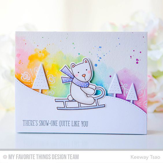 Handmade card from Keeway Tsao featuring Simply Snowflakes stamp set Cooler with You stamp set and Die-namics, Hit the Slopes and Winter Trees Die-namics #mftstamps