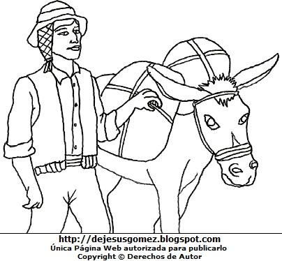 Imagen de un campesino para colorear o pintar por el Día del Campesino  (Campesino de la sierra con su burro de carga). Dibujo del campesino hecho por Jesus Gómez