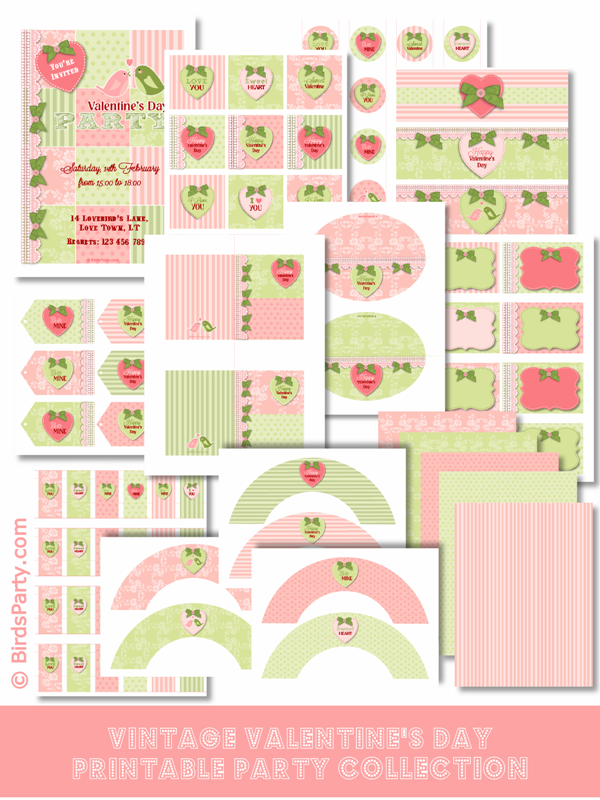A Vintage Romantic Valentine's Day Party Printables - via BirdsParty.com