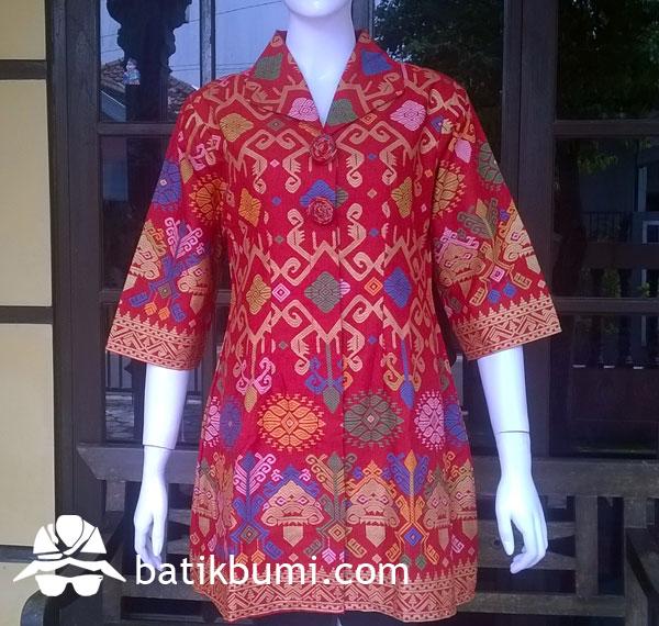 Tunik Batik Bali Prada Merah w/ Furing