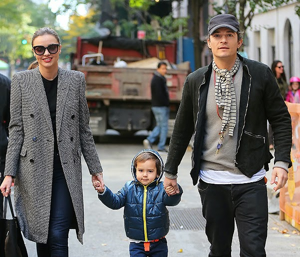 Miranda Kerr and Orlando Bloom for a walk with her son Flynn