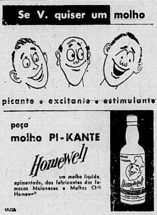 Propaganda do Molho de Pimente Homewell com propriedade afrodisíacas