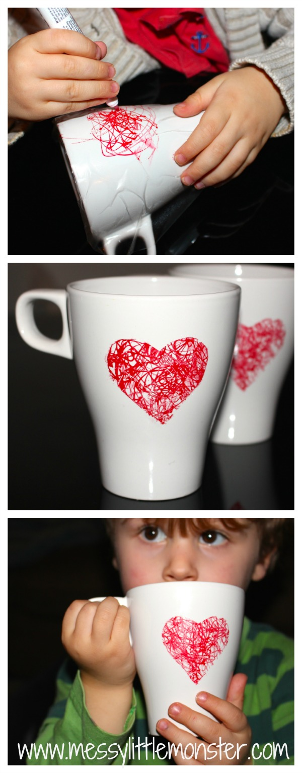 DIY heart mug: Easy toddler made gift