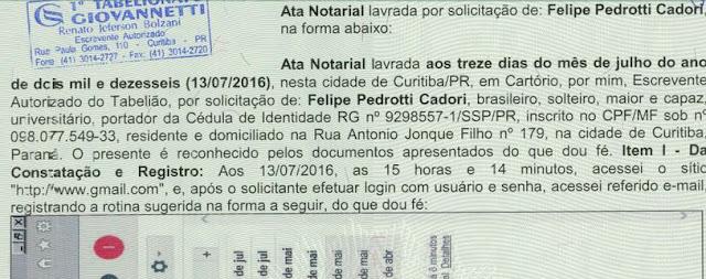 Documento mostra data de autenticação sobre suporto e-mail Mônica Moura