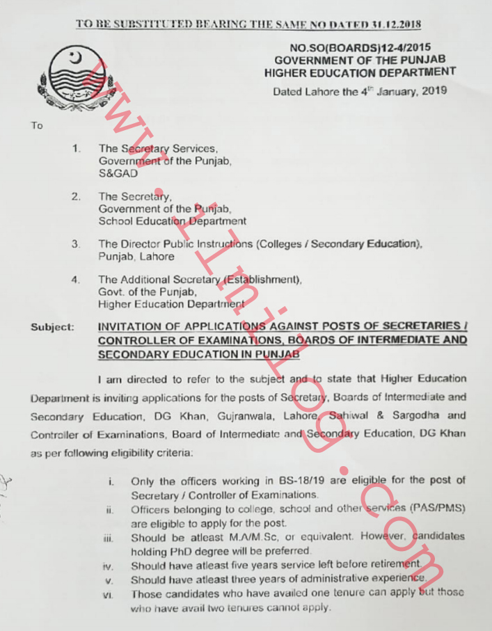 A Secretary Job Description Punjab Board Education by Higher