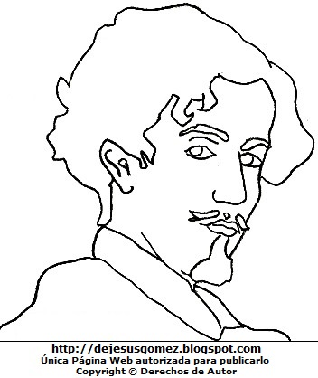 Imagen de Gustavo Adolfo Bécquer para colorear pintar imprimir. Dibujo de Gustavo Adolfo Bécquer de Jesus Gómez