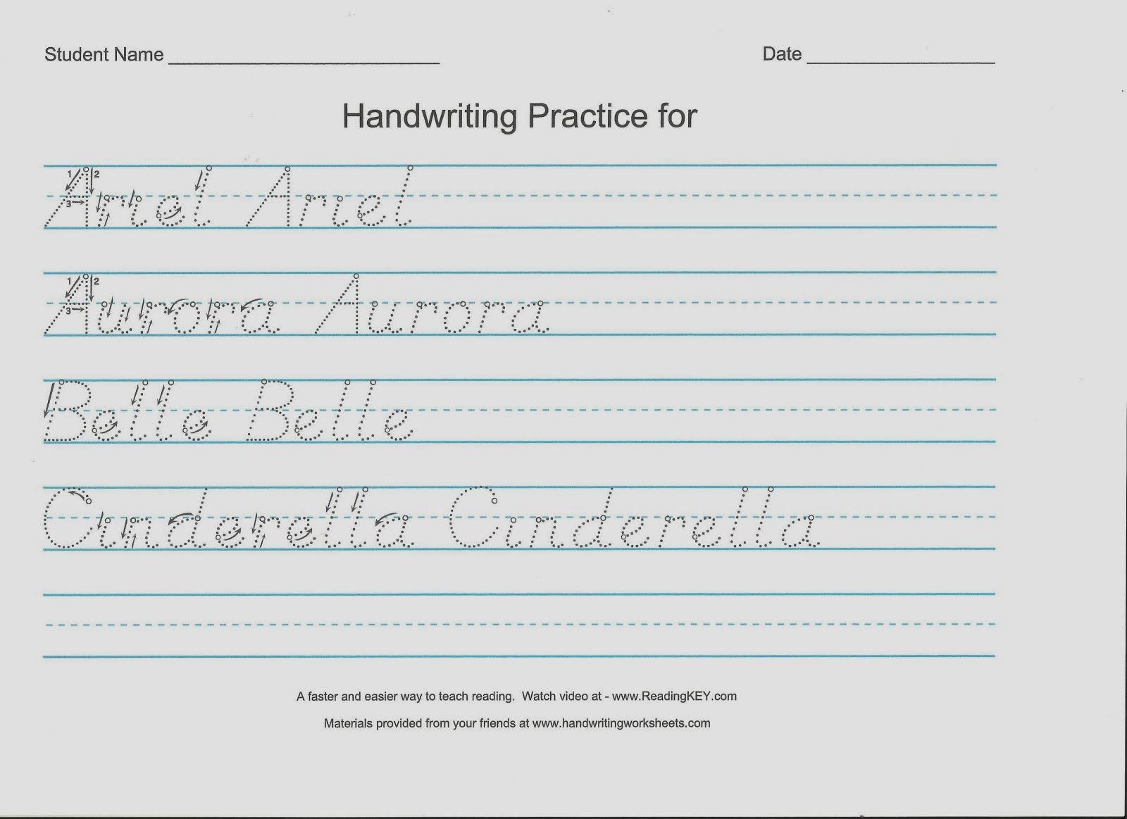 Handwriting Worksheets Kids | Hand Writing