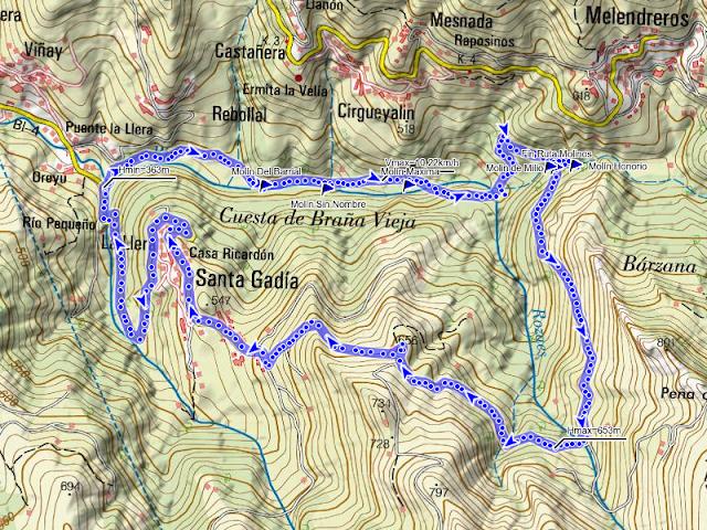 Mapa de la Ruta Molinos de Bimenes