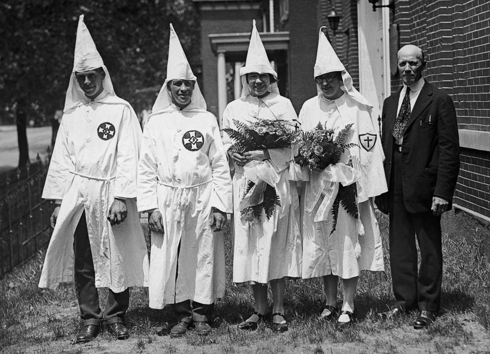 Klan members Mr. and Mrs. Charles E. Harris pose for a wedding portrait on the day of the parade.