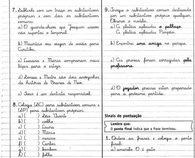 Atividades com os Sinais de Pontuação - Livro Caderno do Futuro 1ª Série.
