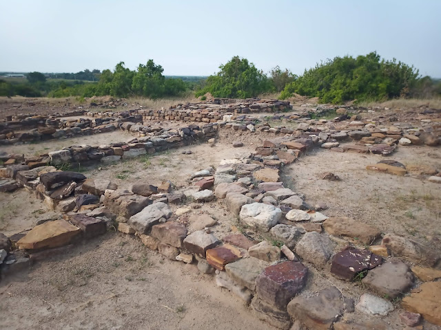 House foundations in Dholavira citadel with rectangular and circular houses