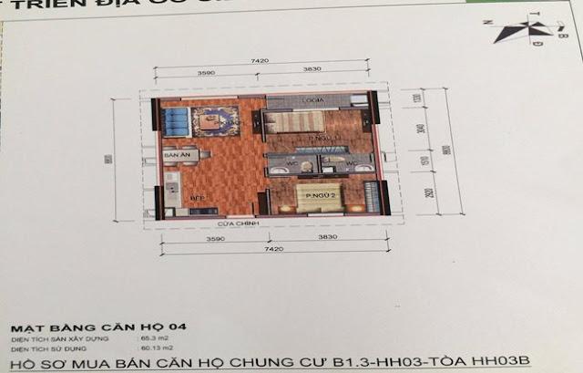 Sơ đồ thiết kế căn hộ 04 chung cư B1.3 HH03B Thanh Hà Cienco 5
