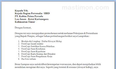 Contoh Surat Lamaran Kerja Terbaru Bahasa Inggris Dan Bahasa Indonesia Mastimon Com