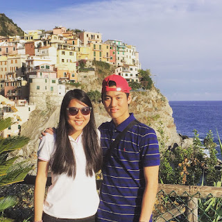 Alaric Ong with his sister in Italy